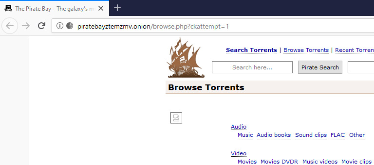 Pirate Bay Open By Tor