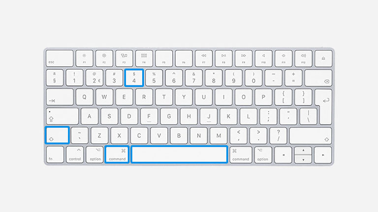 Keyboard with Command + shift + 4 & Spacebar highlighted