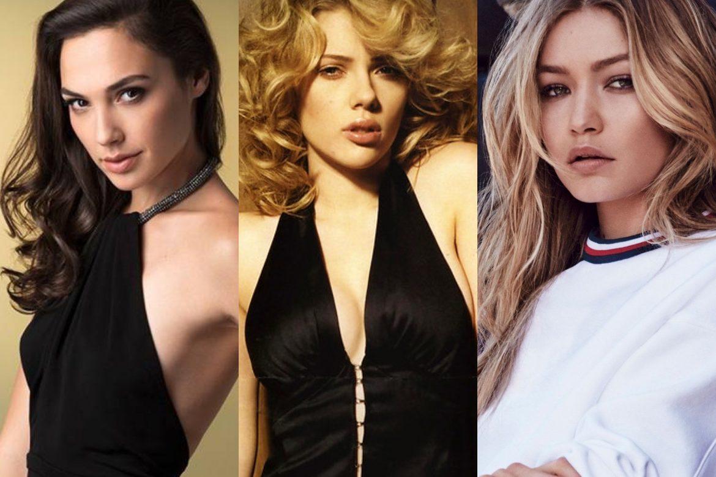 Collage of Gal Gadot & Scarlett Johansson & Gigi Hadid
