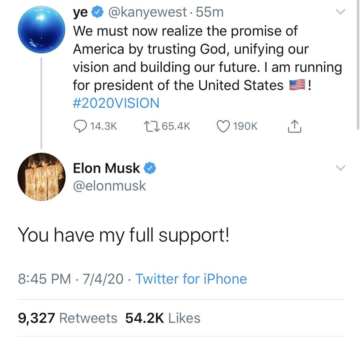 Elon Musk expresses his support of Kanye West