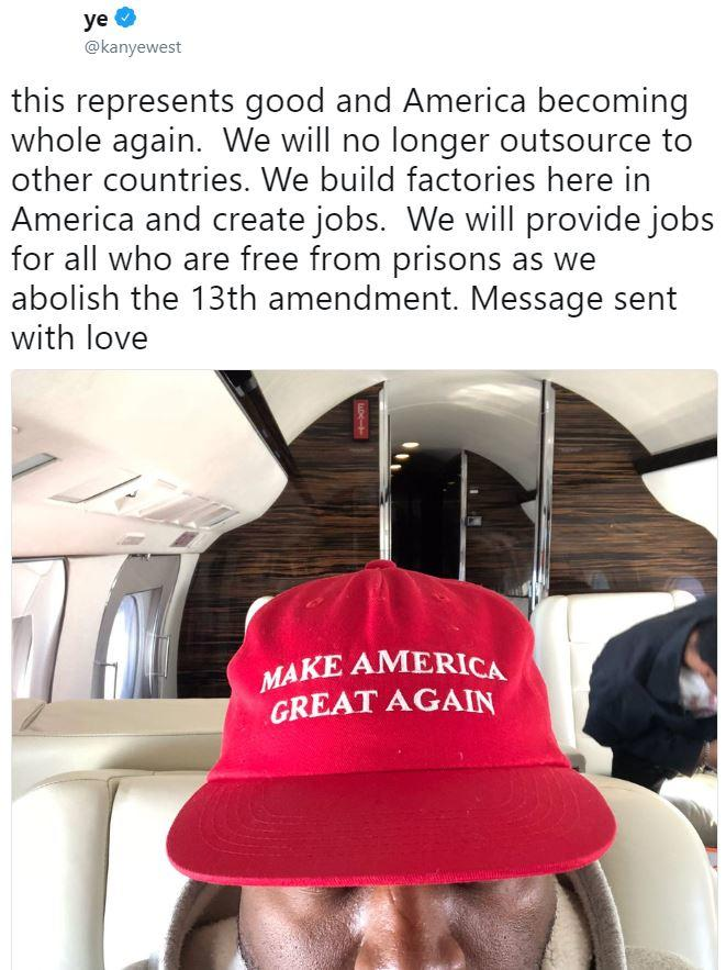 Kanye West and the infamous MAGA hat.