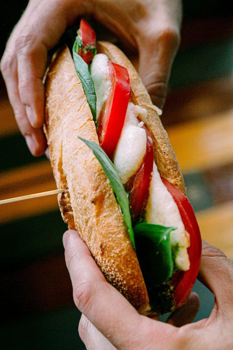 caprese sandwich as mediterranean food