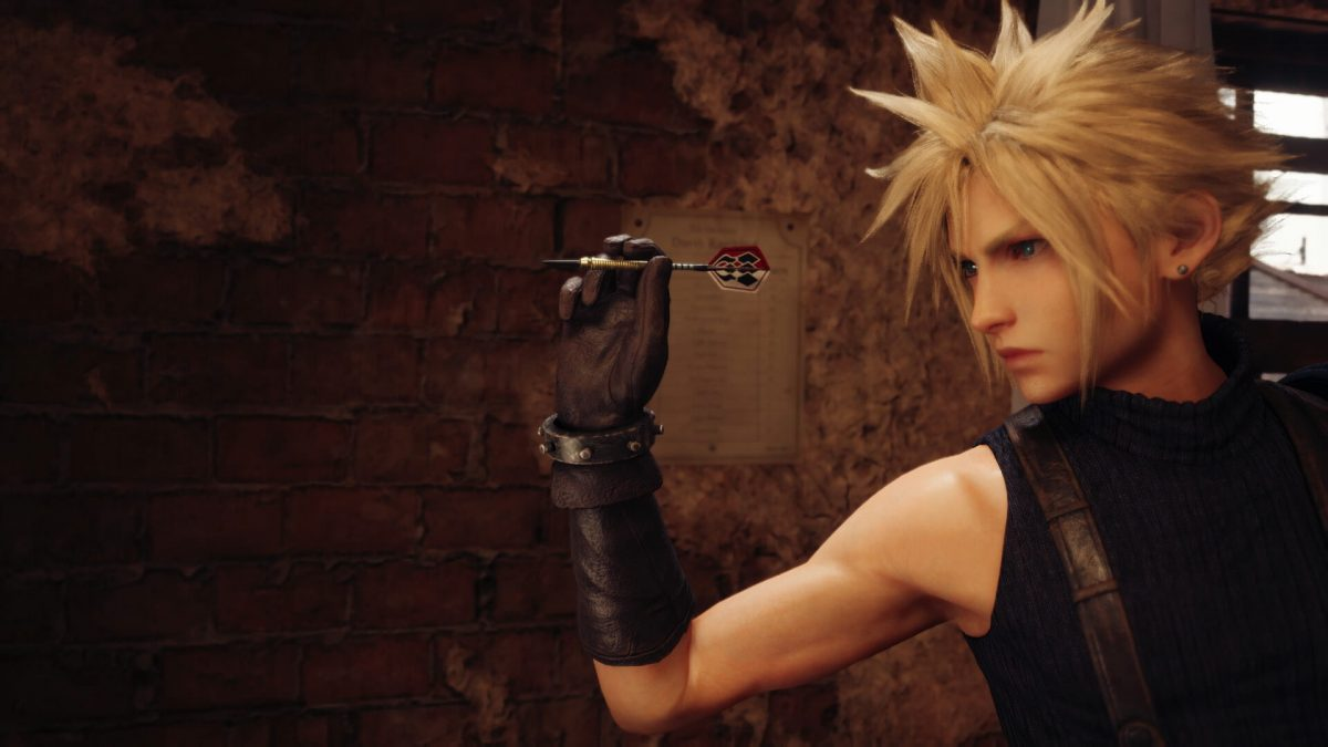 Cloud playing darts in Final Fantasy 7 Remake best PS4