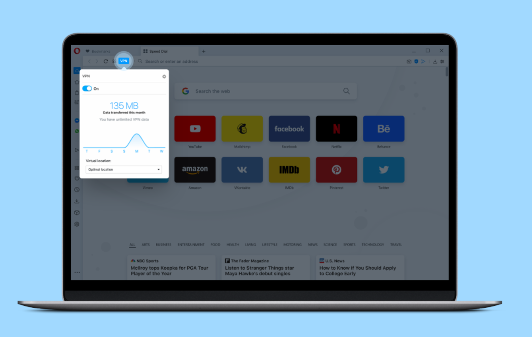 Opera VPN integrated with Opera browser for MAC