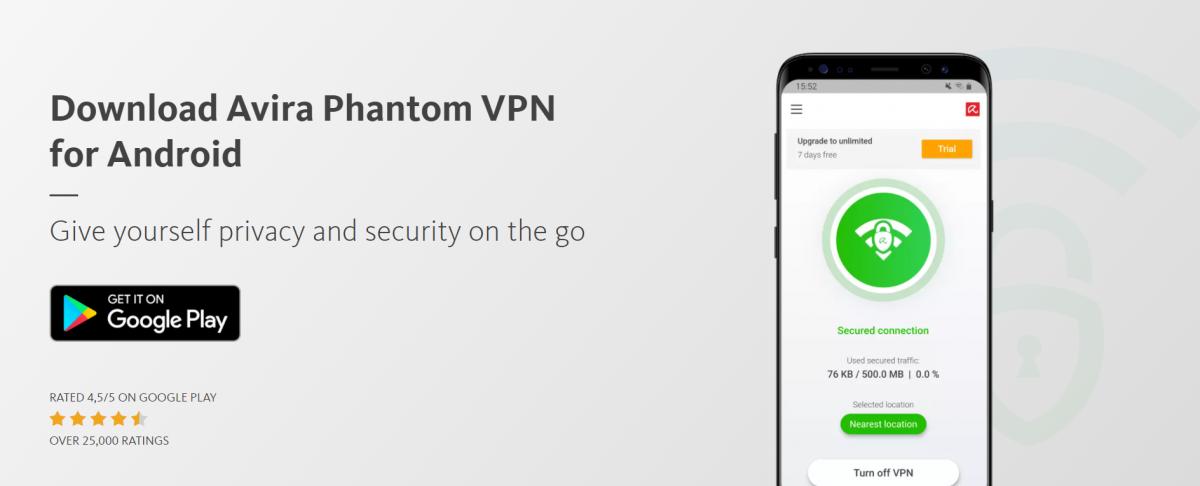 Avira Phantom free VPN for Android device security
