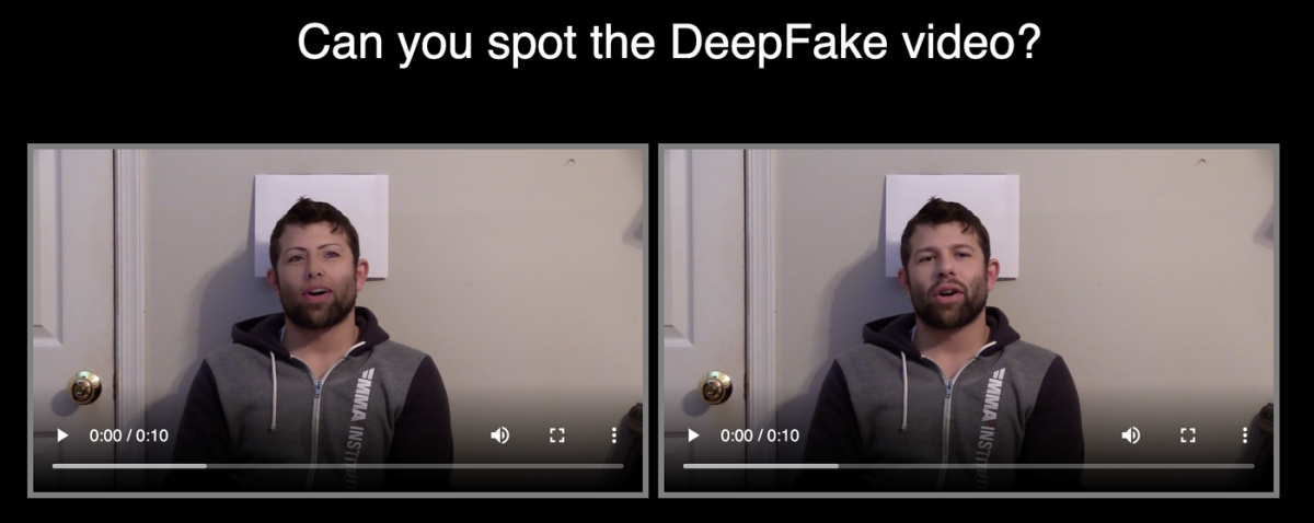 Spot the difference of a normal and deepfake video.