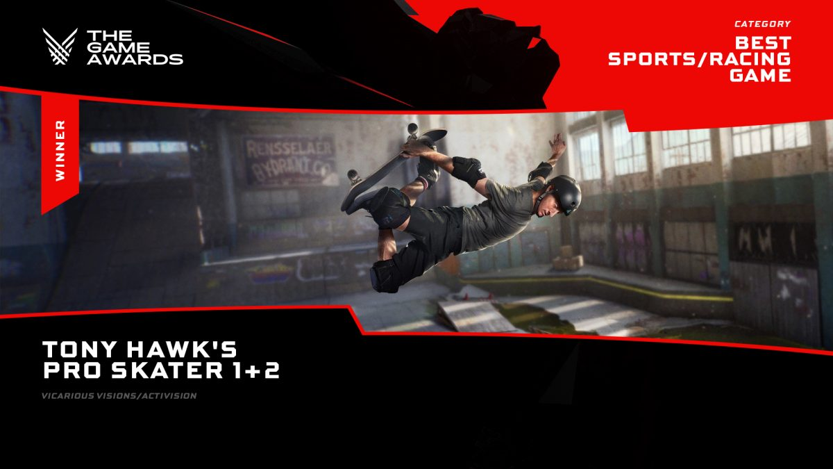 The best sports/racing game in the Game Awards 2020 goes to Tony Hawk's Pro Skater 1+2