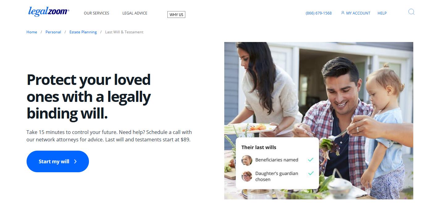 Write a will through LegalZoom.com