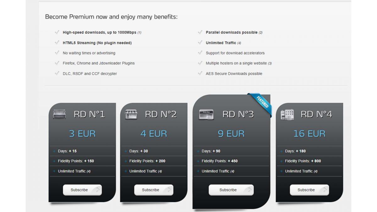 Real Debrid payment tier list.