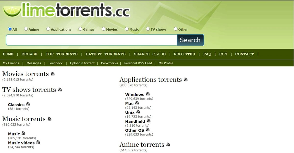 Limetorrents page.