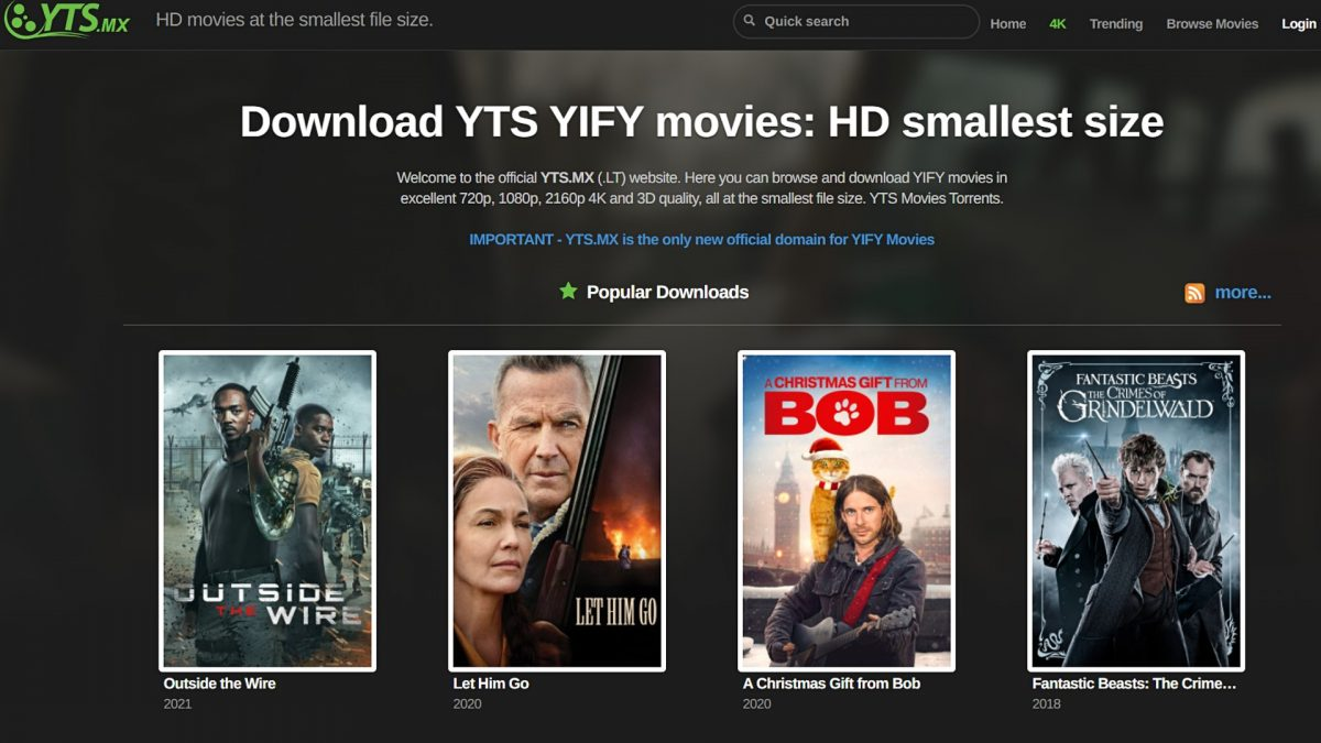 Torrent movies on YIFY.