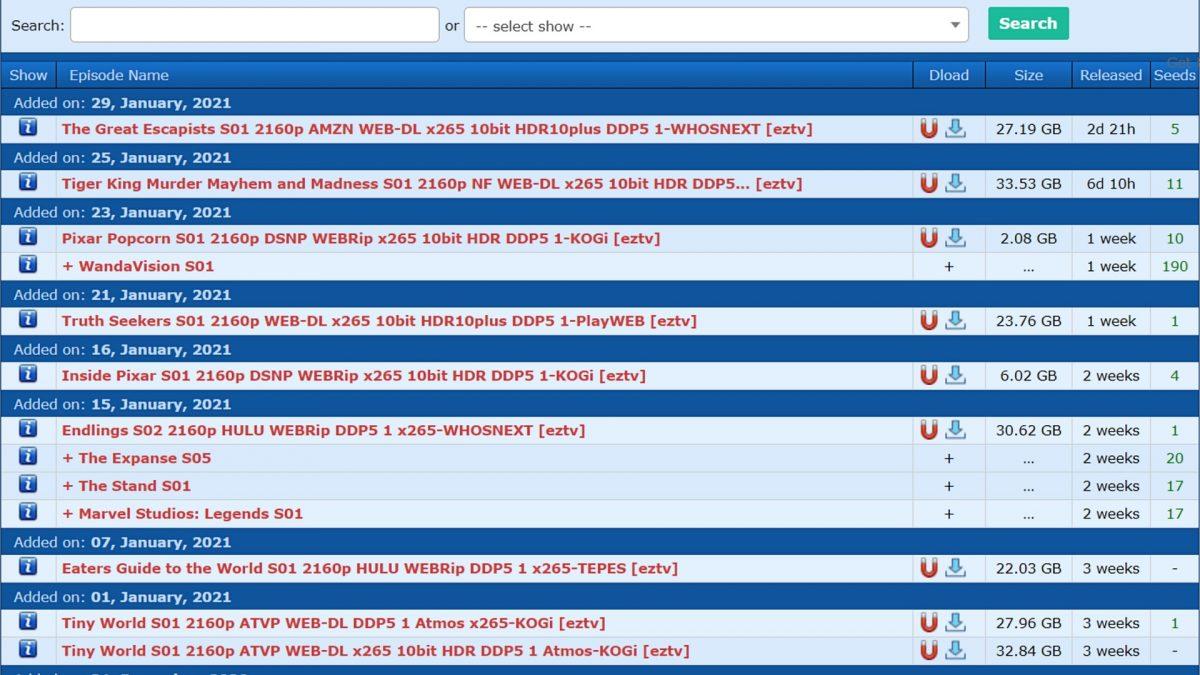 EZTV torrent website.