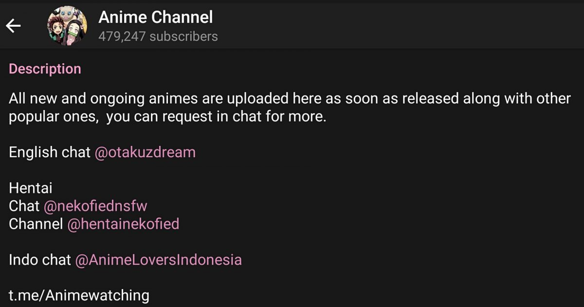 Watch and download anime on Telegram.