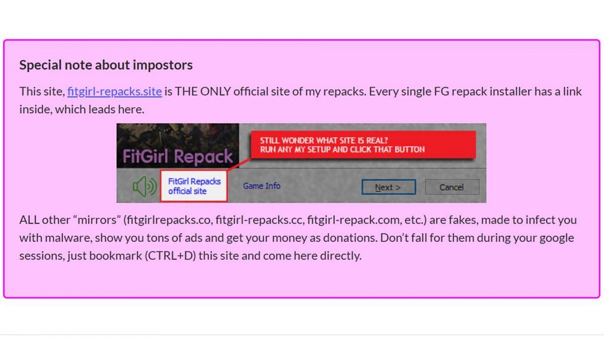 Fake FitGirl sites.