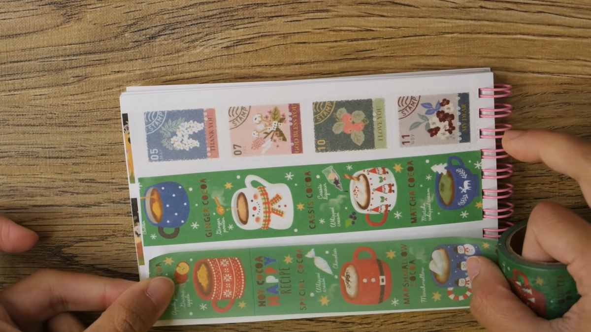 Stationery strips with Christmas designs
