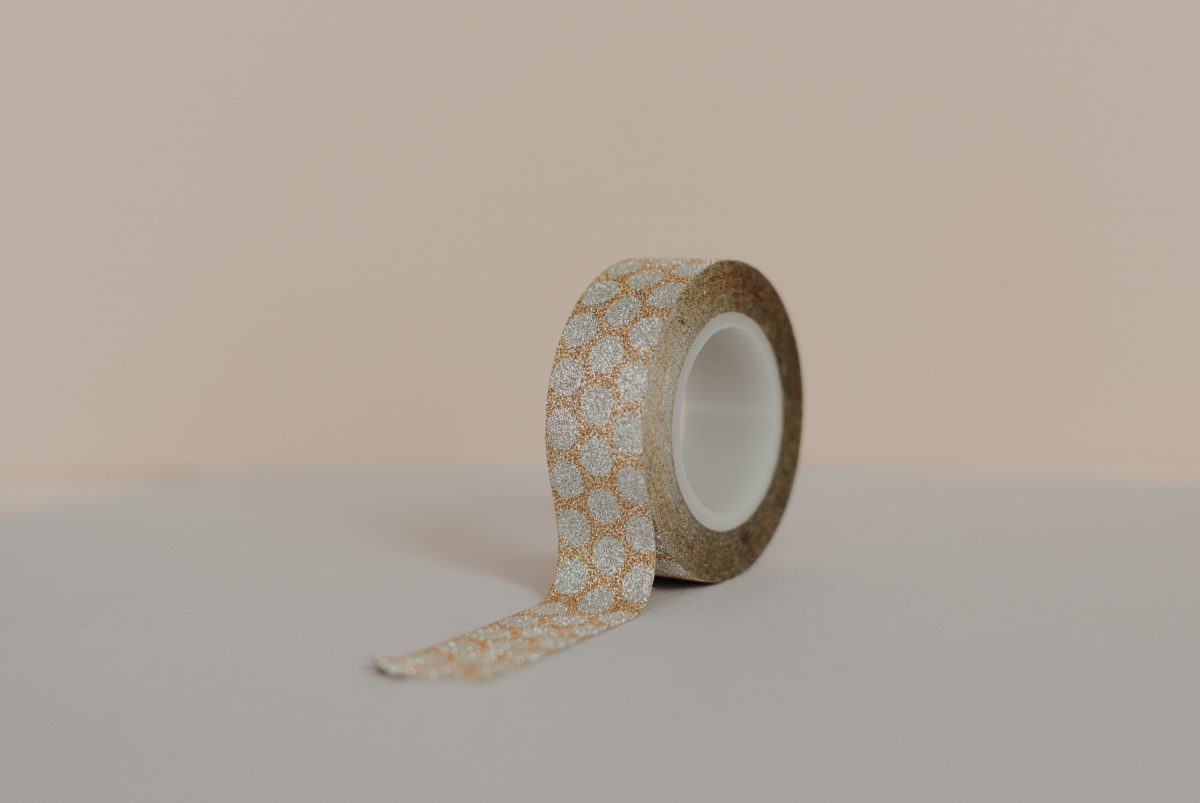 Piece of glittered tape
