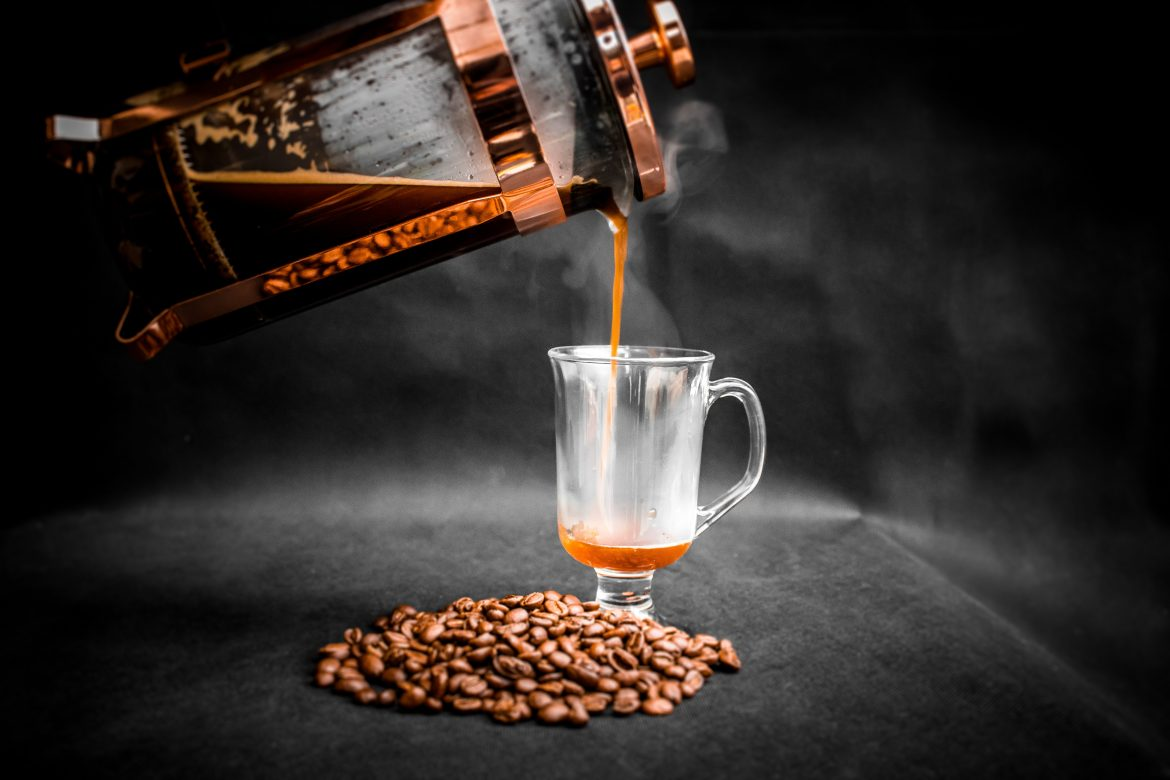 Coffee poured from french press