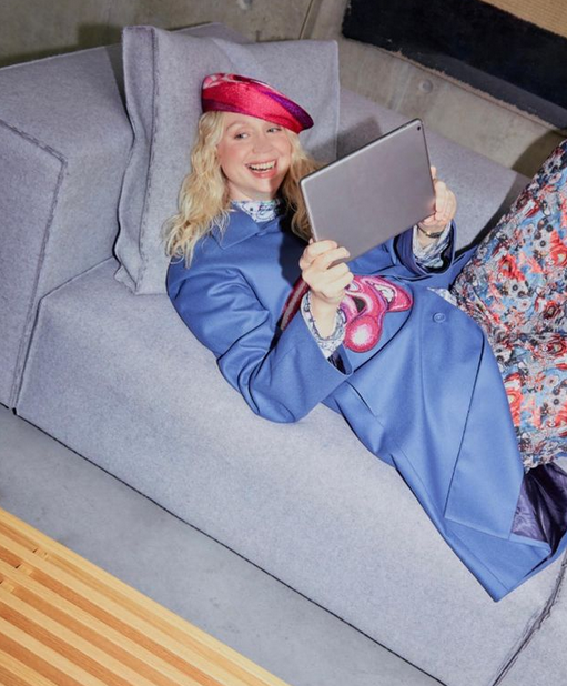 picture of gwendoline christie on couch