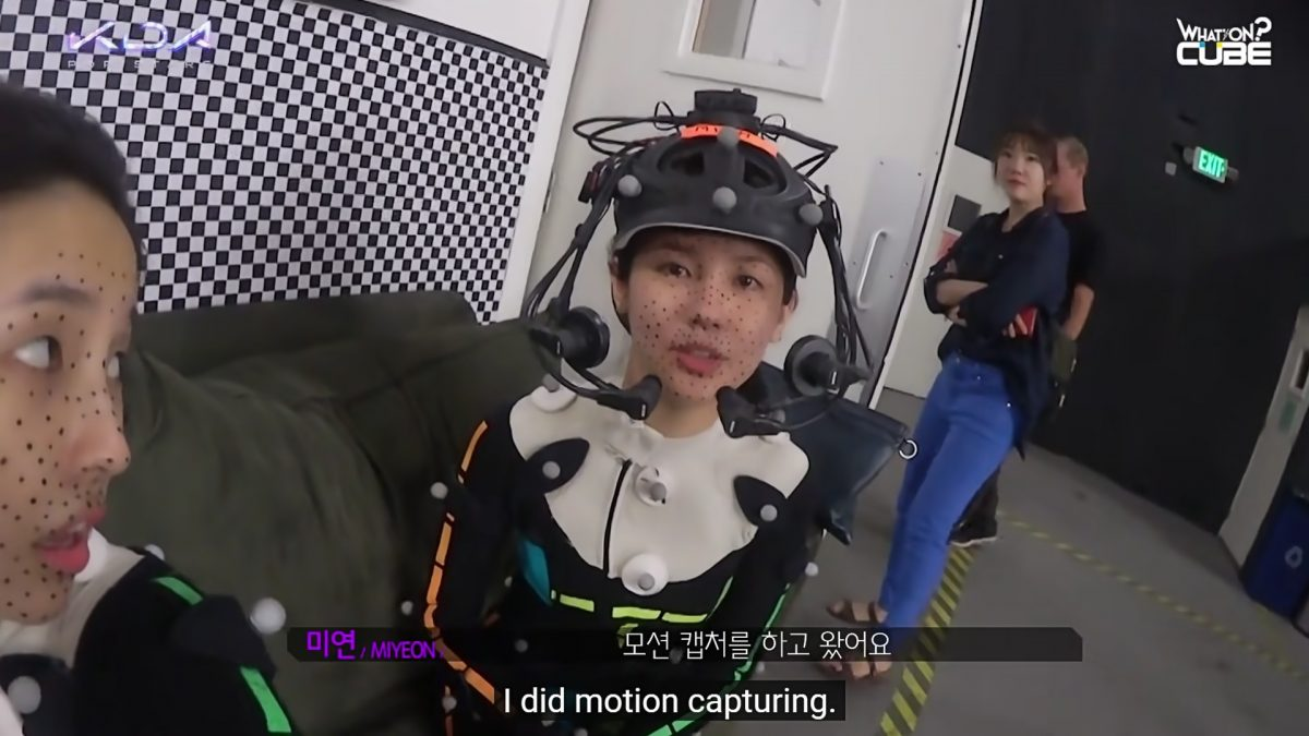 Kpop Idols Miyeon and Soyeon wearing motion capture equipment.