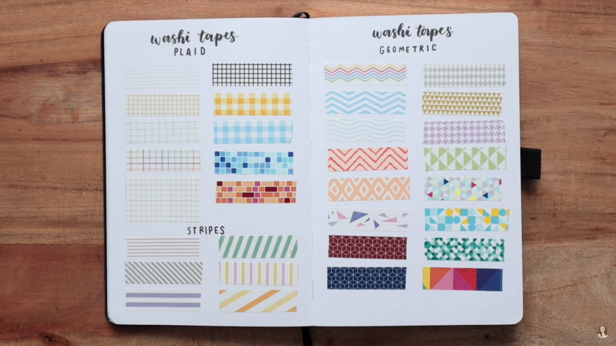 Washi strips with different patterns