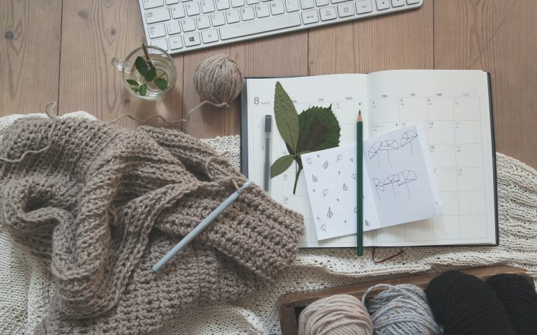 Flatlay of materials on how to crochet