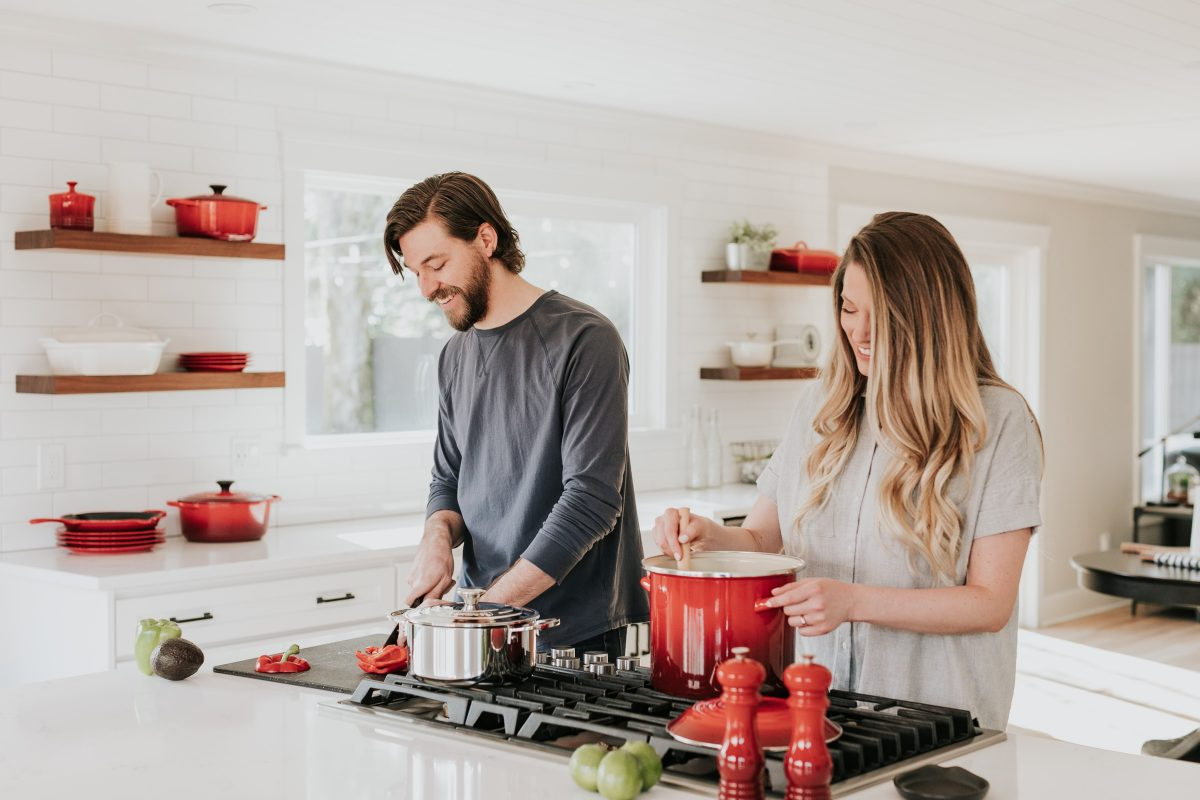 couple cooking a recipe in the kitchen, fun date night ideas