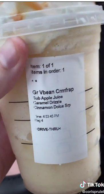 the apple pie frappuccino Starbucks TikTok drink